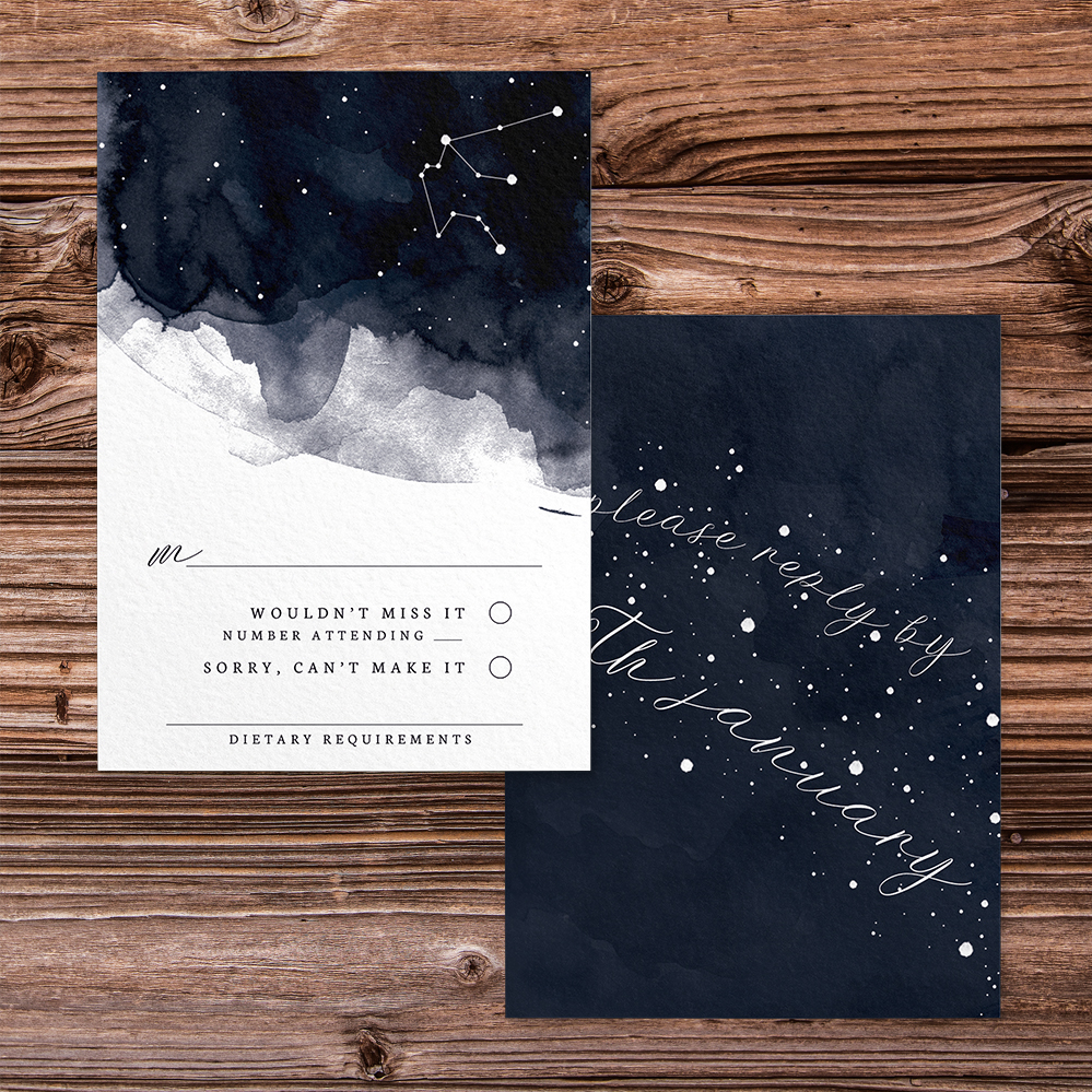 Starry Night RSVP Card - watercolour celestial stars constellation moon navy wedding wedding stationery suite uk - Hawthorne and Ivory