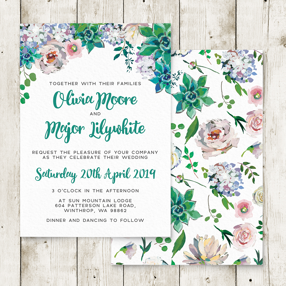 Succulent Rose Invitation - teal turquoise hydrangea eucalyptus floral wedding stationery suite uk - Hawthorne and Ivory