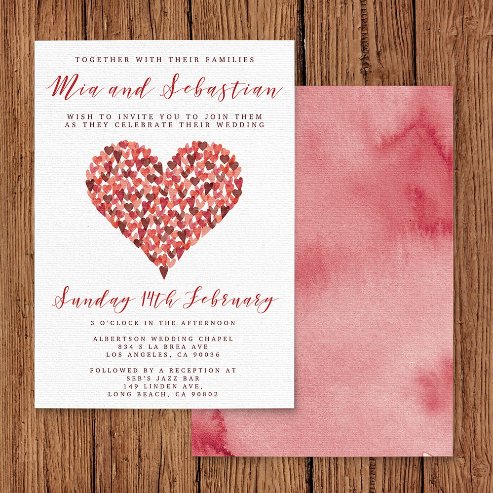 Valentines Hearts Invitation - watercolour red pink heart wedding stationery suite uk - Hawthorne and Ivory