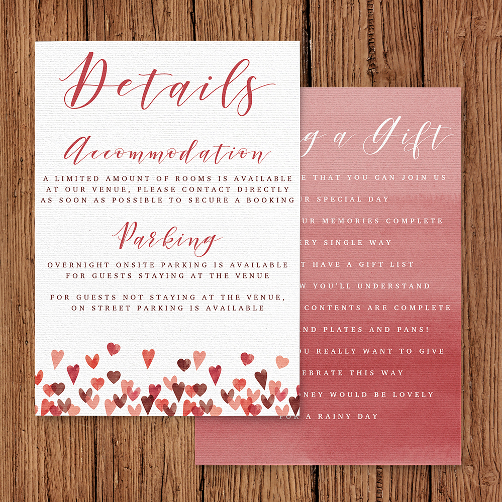 Valentines Hearts Details Card - watercolour red pink heart wedding stationery suite uk - Hawthorne and Ivory