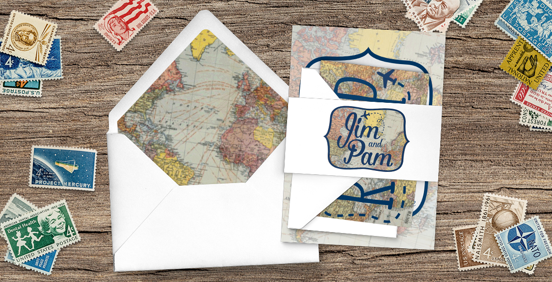 Vintage Maps Invitation - travel destination wedding stationery suite uk - Hawthorne and Ivory