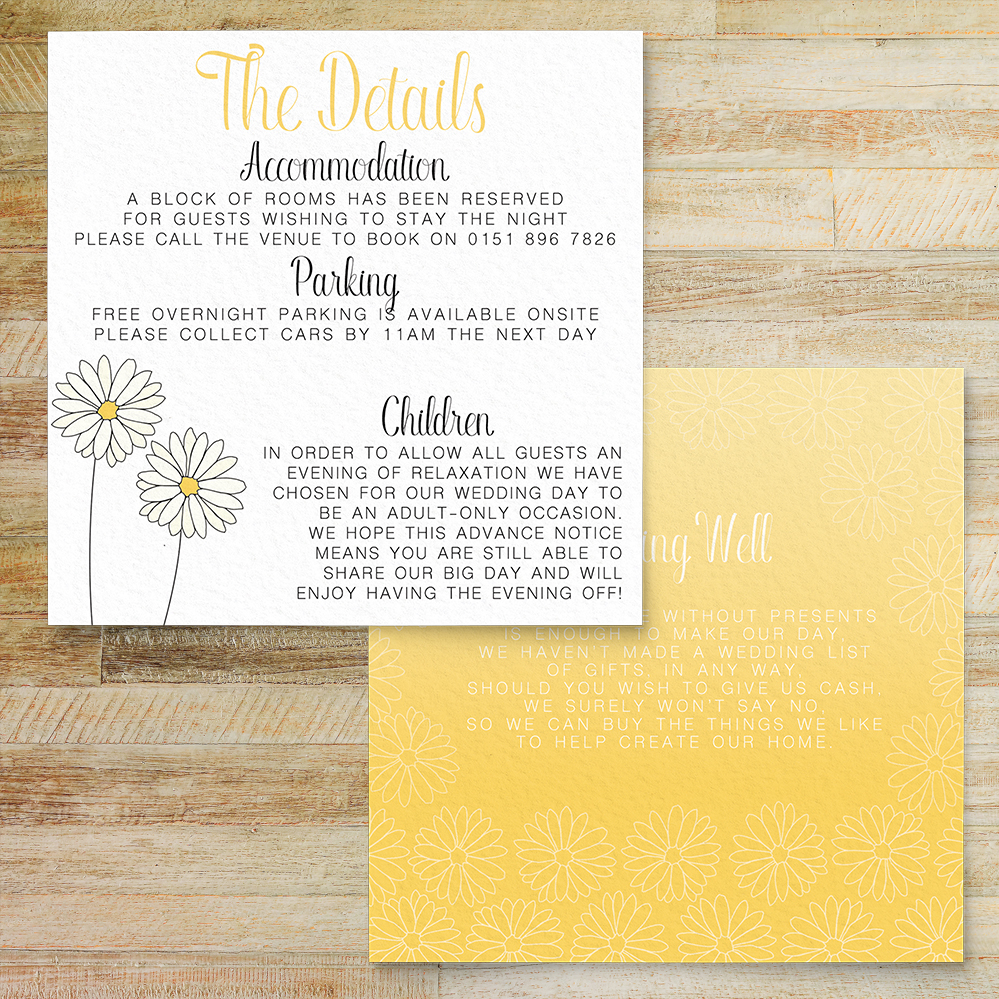 Yellow Daisy Details Card - lemon floral simple modern wedding stationery suite uk - Hawthorne and Ivory