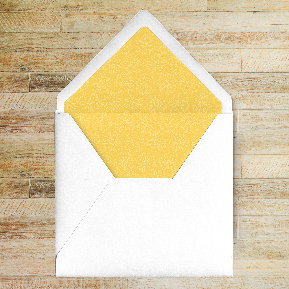 Yellow Daisy Envelope Liner - lemon floral simple modern wedding stationery suite uk - Hawthorne and Ivory
