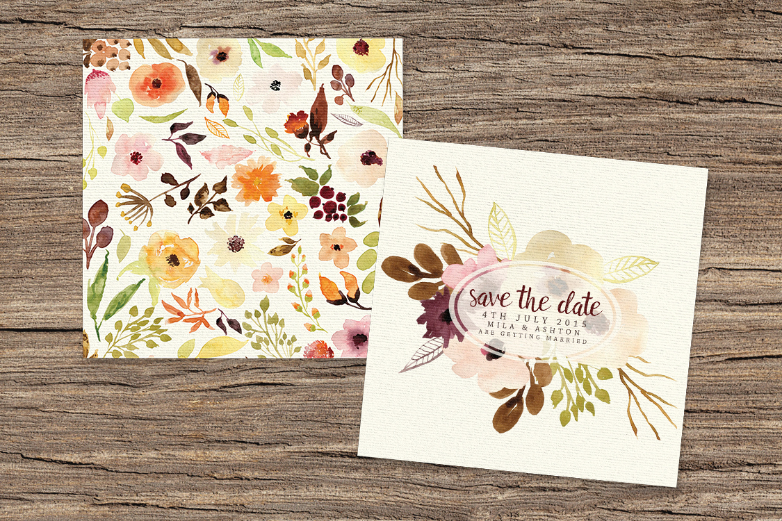 Autumn Flowers Save The Date - watercolour flowers wedding stationery suite UK - Hawthorne and Ivorysave the date both.jpg