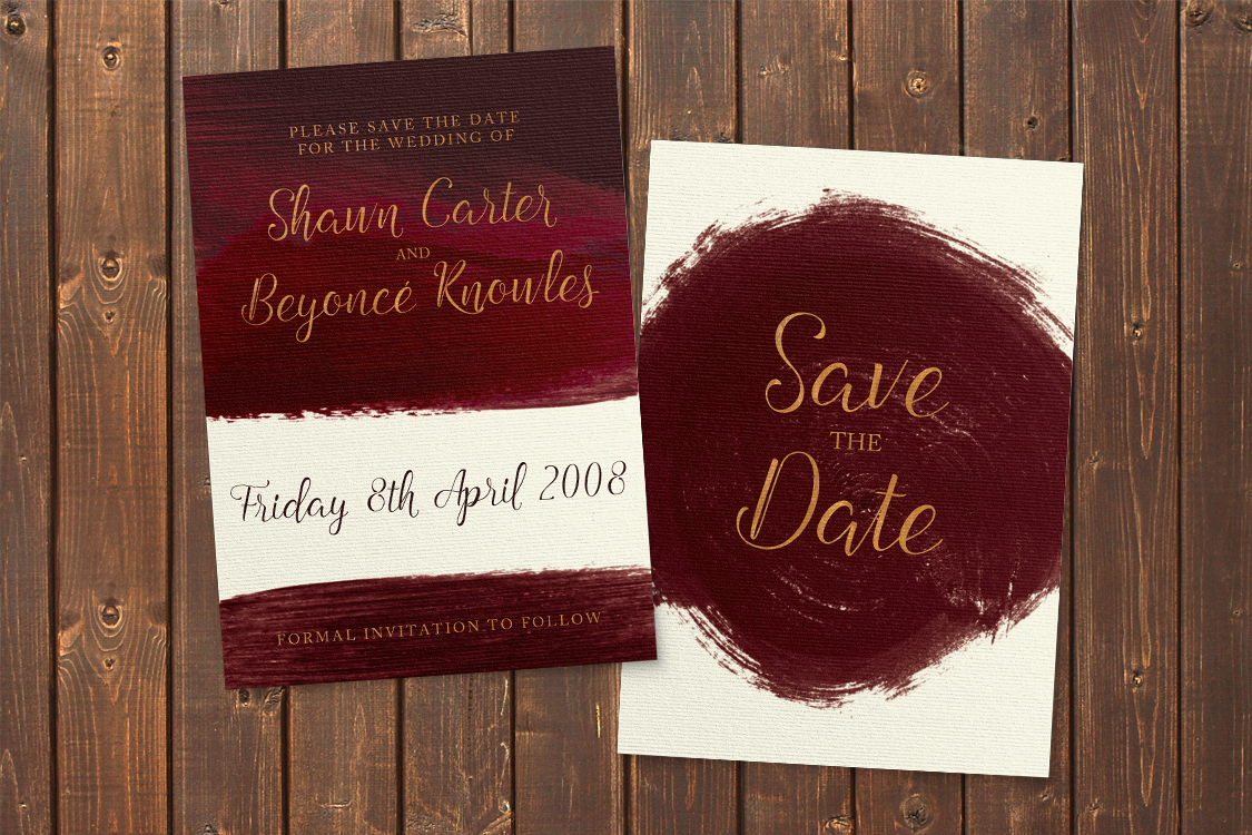 Marsala Wine Save The Dates - burgundy red watercolour gold copper wedding stationery suite uk - Hawthorne and Ivory