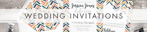 Retro Chic Invitation - painted chevron modern mustard slate blue coral peach wedding wedding stationery suite uk - Hawthorne and Ivory