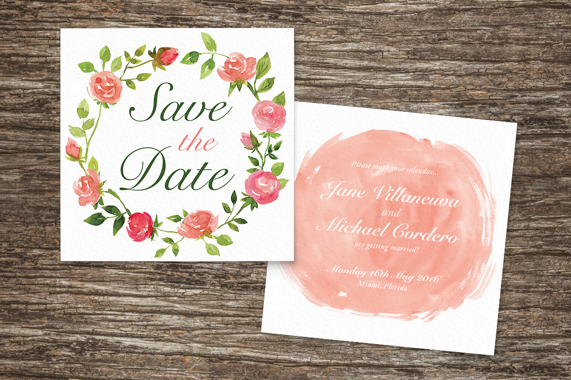 Rose Bush Save The Dates - peach pink roses watercolour wedding wedding stationery suite uk - Hawthorne and Ivory