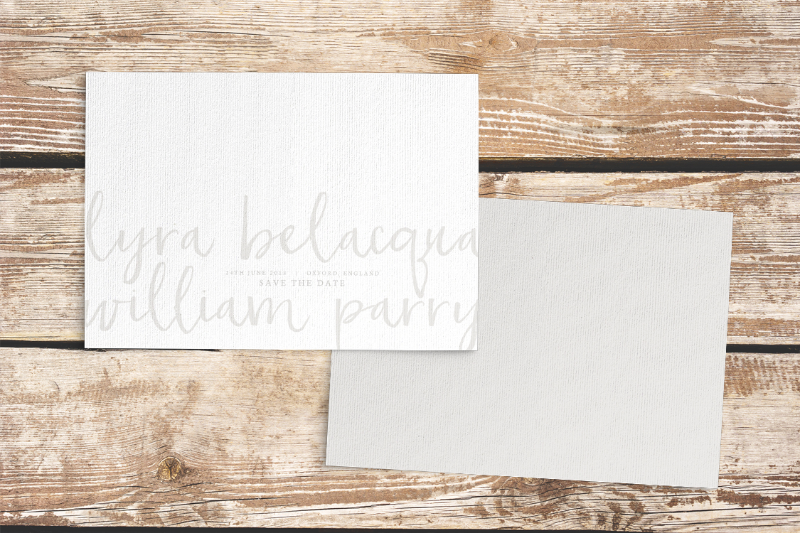 Subtle Powder White Save The Dates - minimal simple pale grey wedding wedding stationery suite uk - Hawthorne and Ivory