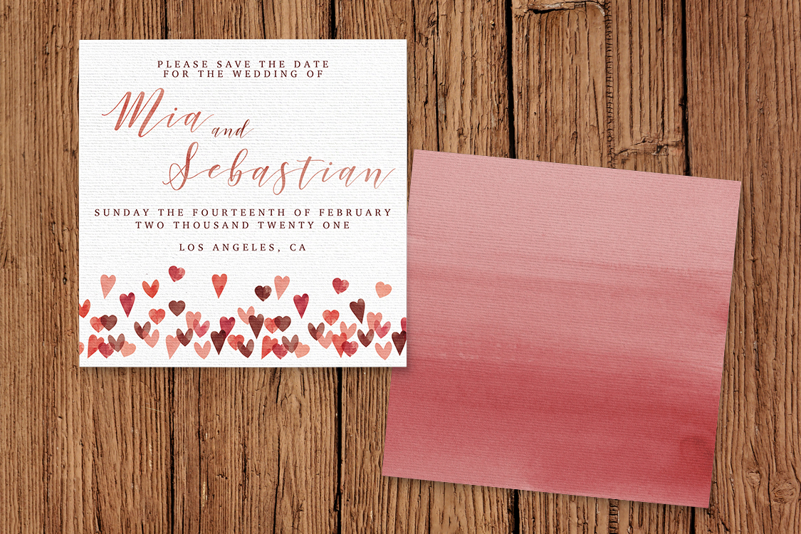 Valentines Hearts Save The Dates - watercolour red pink heart wedding stationery suite uk - Hawthorne and Ivory