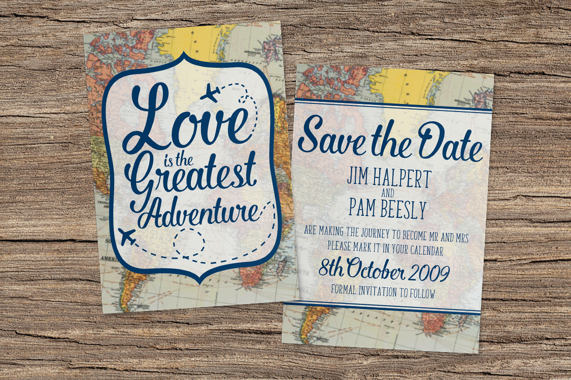 Vintage Maps Save The Dates - travel destination wedding stationery suite uk - Hawthorne and Ivory