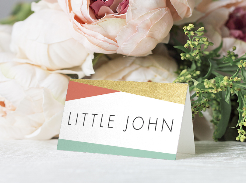 Aqua and Coral Geometry Place Card - bold geometric wedding stationery suite UK - Hawthorne and Ivory