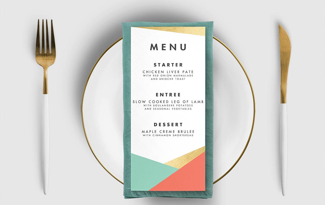Aqua and Coral Geometry Menu Card - bold geometric wedding stationery suite UK - Hawthorne and Ivory