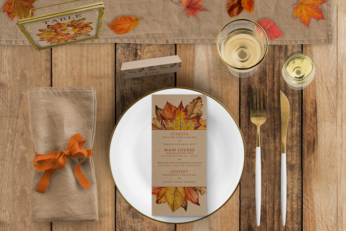 Autumn Leaves Tablescape - watercolour painted leaves wedding stationery place card table number menu uk - Hawthorne and Ivory