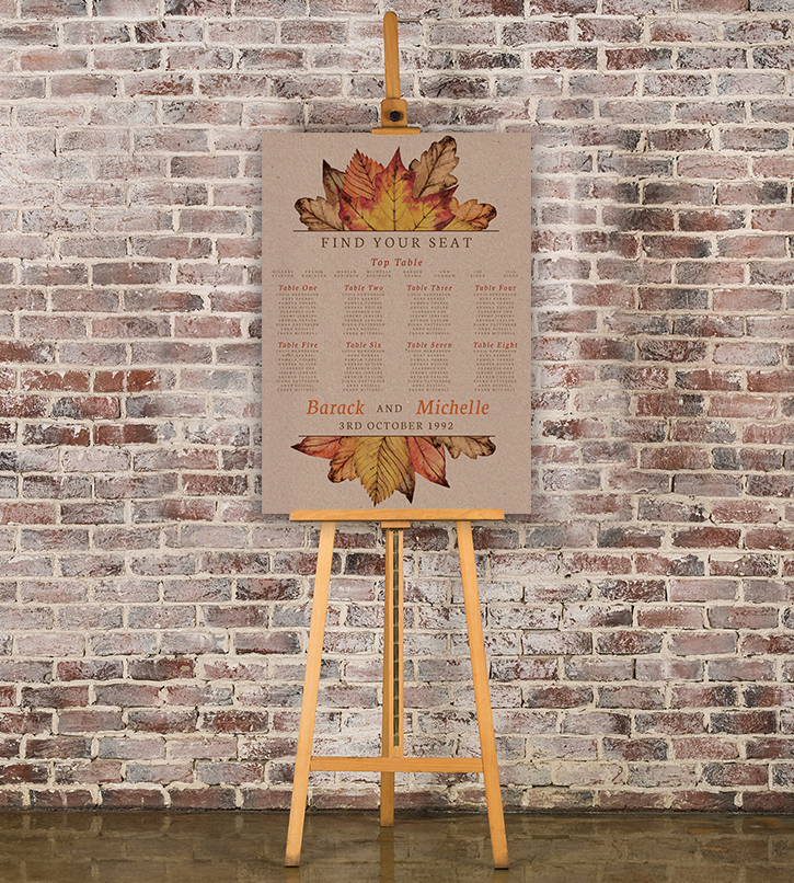Autumn Leaves Table Plan - watercolour painted leaves wedding stationery seating chart uk - Hawthorne and Ivory