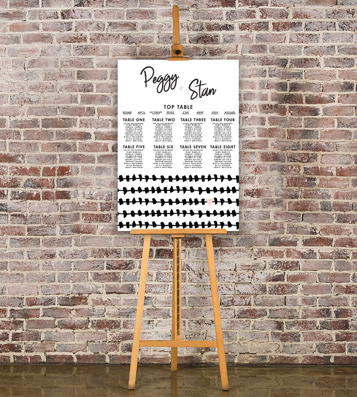 Black and Blush Table Plan - bold modern graphic wedding stationery seating chart uk - Hawthorne and Ivory