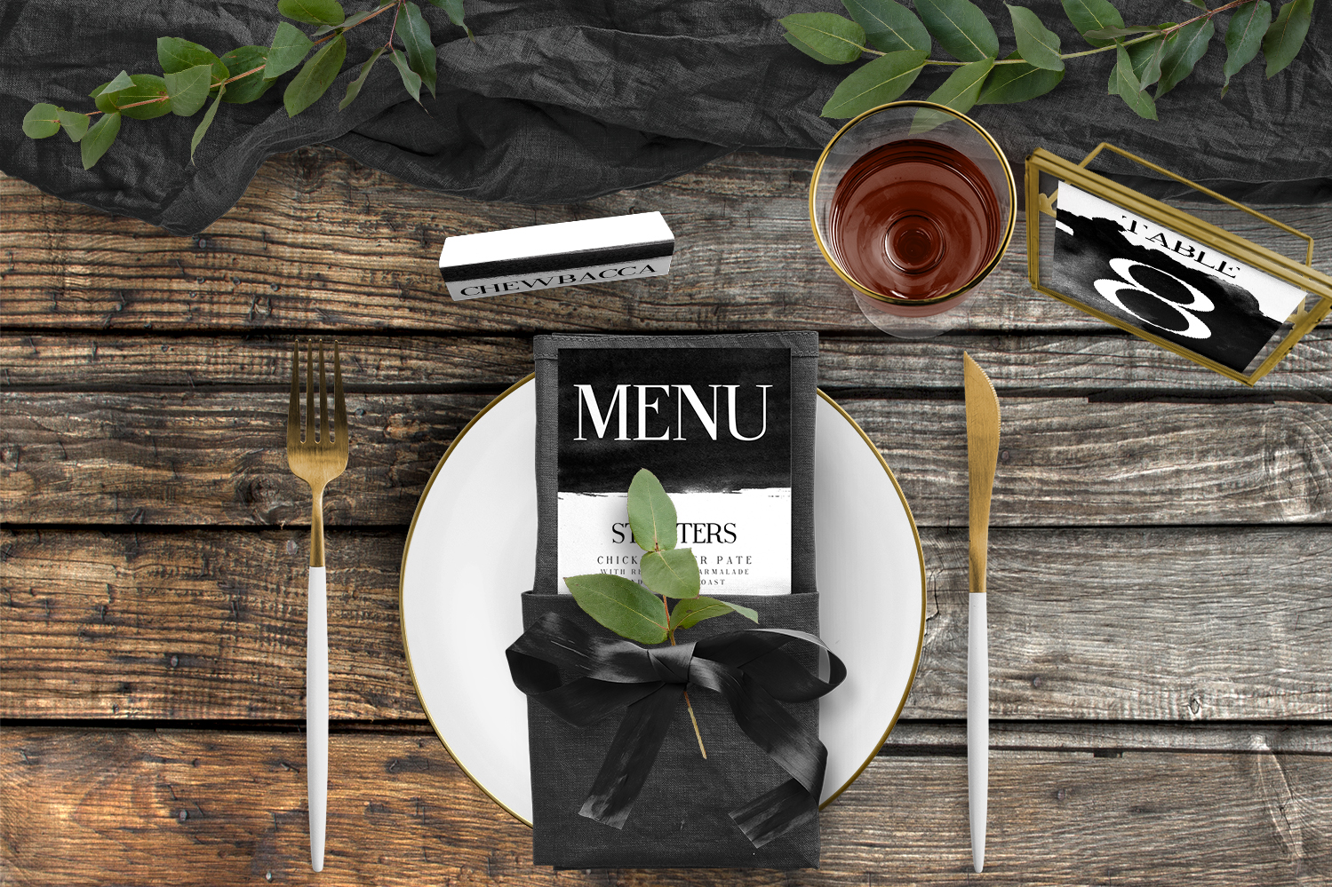 Black and White Tablescape - bold watercolour brushstrokes wedding stationery place setting menu card table number uk - Hawthorne and Ivory