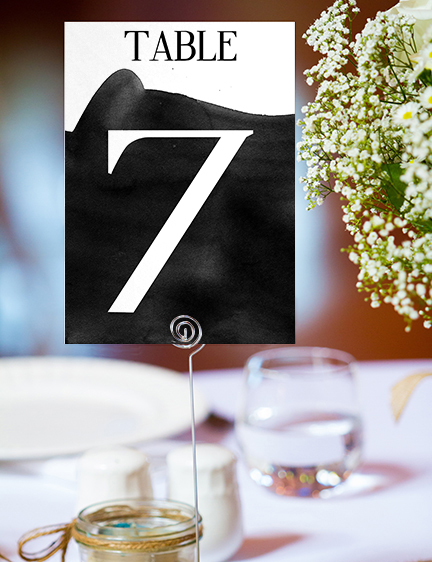 Black and White Table Number - bold watercolour brushstrokes wedding stationery suite uk - Hawthorne and Ivory