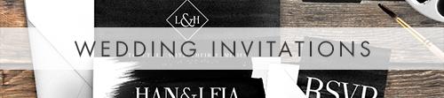 Black and White Invitation - bold watercolour brushstrokes wedding stationery suite uk - Hawthorne and Ivory
