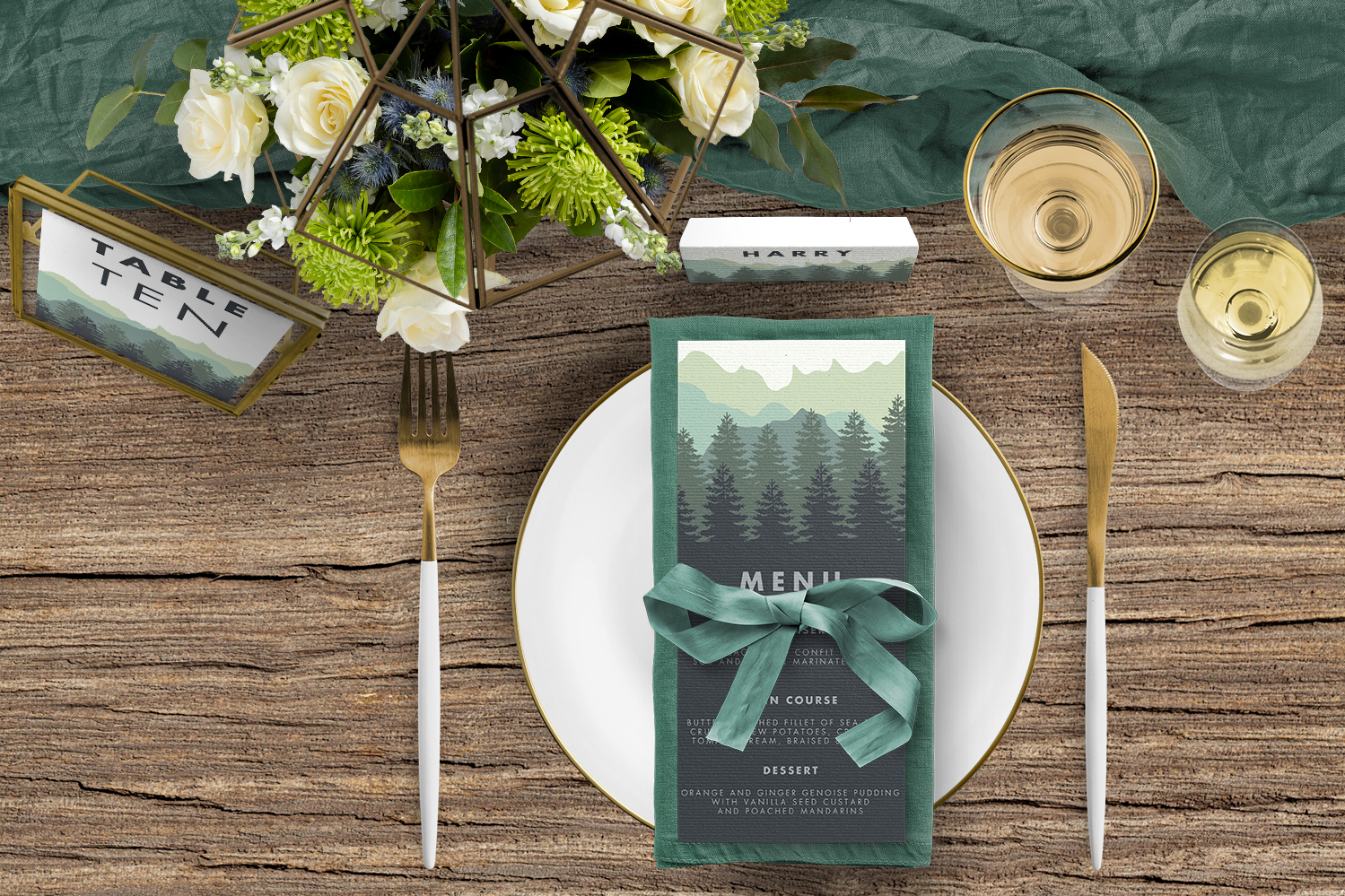 Blue Green Mountains Tablescape - modern graphic outdoor wedding stationery place setting menu card table number uk - Hawthorne and Ivory
