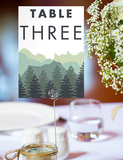 Blue Green Mountains Table Number - modern graphic outdoor wedding stationery suite uk - Hawthorne and Ivory