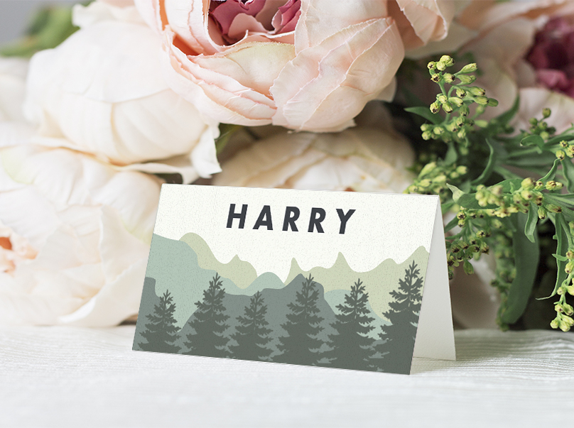 Blue Green Mountains Place Card - modern graphic outdoor wedding stationery suite uk - Hawthorne and Ivory