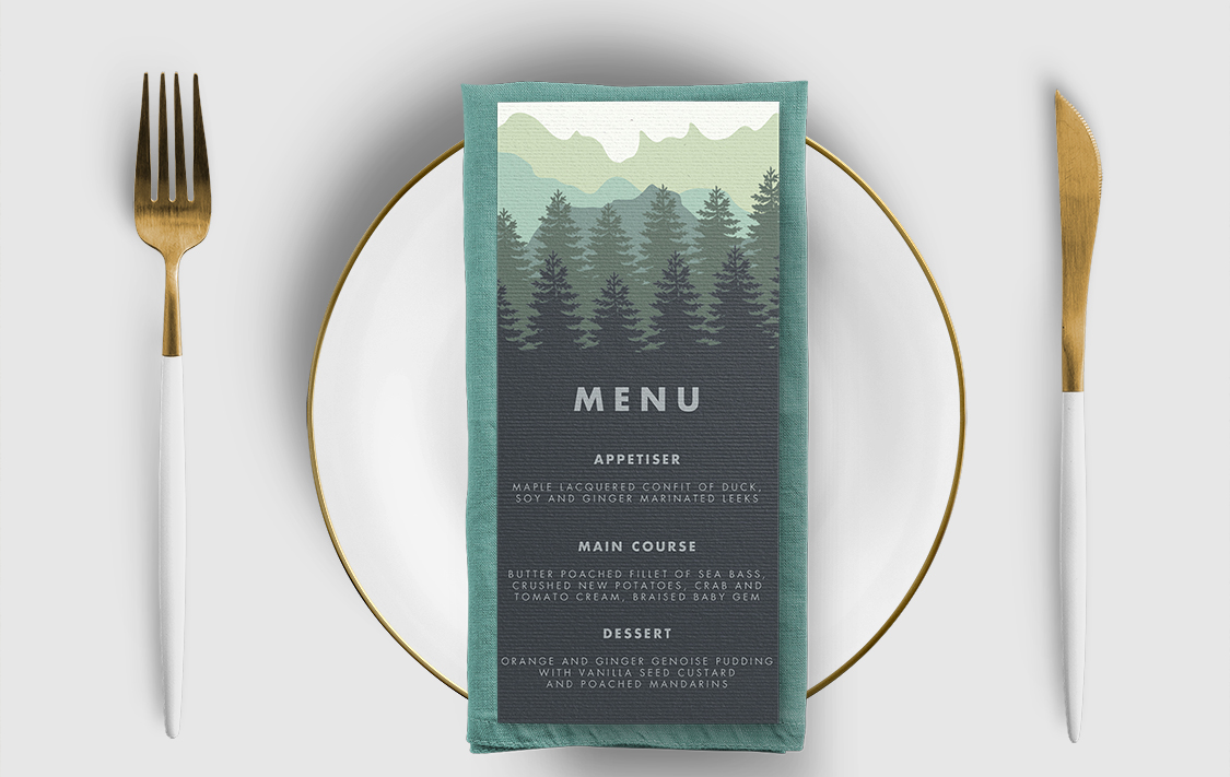 Blue Green Mountains Menu - modern graphic outdoor wedding stationery suite uk - Hawthorne and Ivory