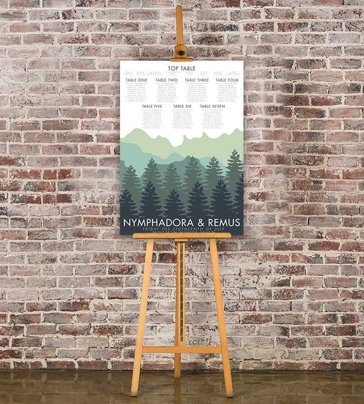 Blue Green Mountains Table Plan - modern graphic outdoor wedding stationery seating chart uk - Hawthorne and Ivory