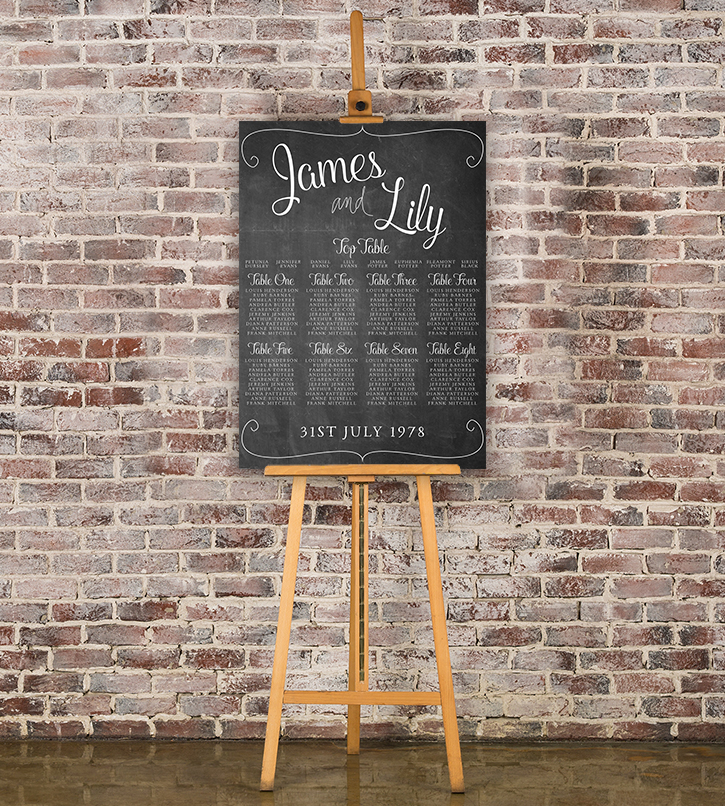 Chalkboard Table Plan - rustic chalk slate grey wedding stationery seating chart uk - Hawthorne and Ivory