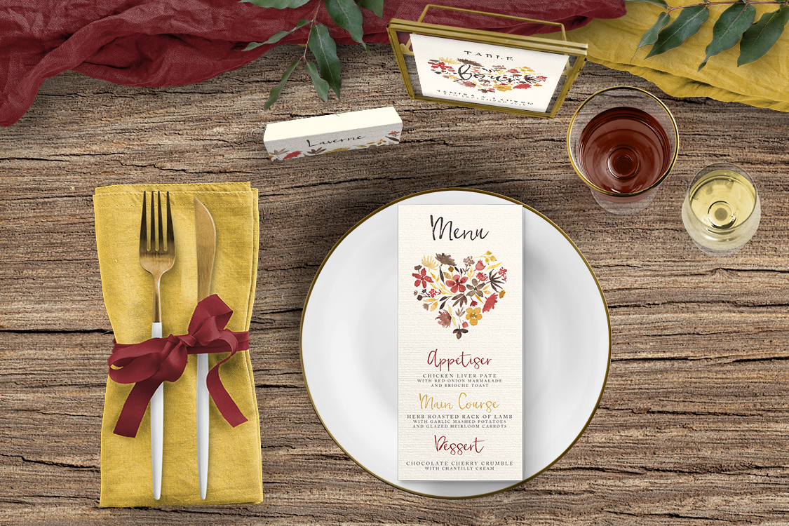 Cranberry and Mustard Tablescape - burgundy red yellow autumn watercolour flowers wedding stationery place setting menu card table number uk - Hawthorne and Ivory