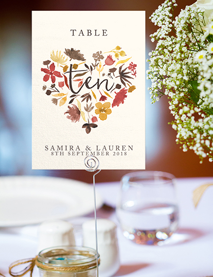 Cranberry and Mustard Table Number - burgundy red yellow autumn watercolour flowers wedding stationery suite uk - Hawthorne and Ivory