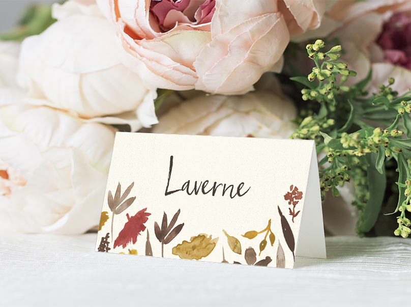 Cranberry and Mustard Placecard - burgundy red yellow autumn watercolour flowers wedding stationery suite uk - Hawthorne and Ivory