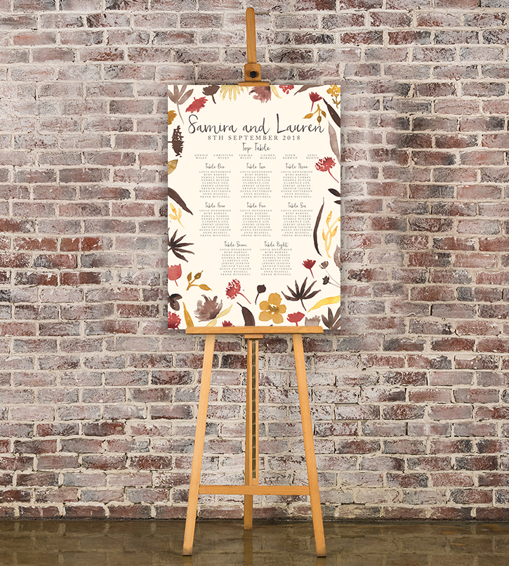 Cranberry and Mustard Table Plan - burgundy red yellow autumn watercolour flowers wedding stationery seating chart uk - Hawthorne and Ivory