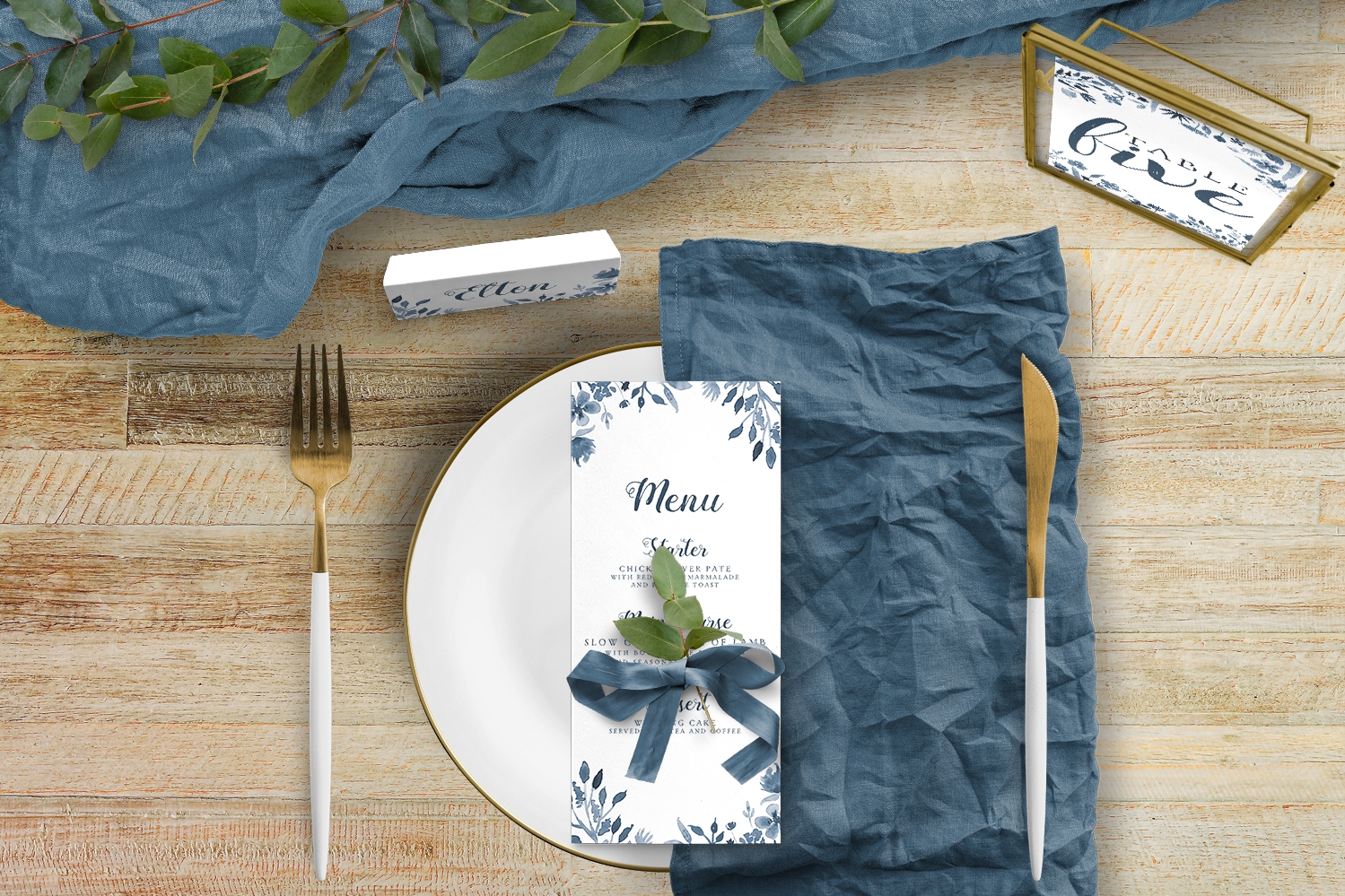 Dusky Blue Tablescape - blue watercolour floral wedding stationery place setting menu card table number uk - Hawthorne and Ivory