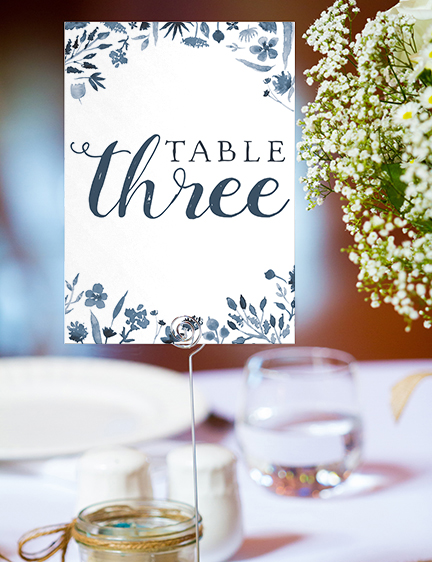 Dusky Blue Table Number - blue watercolour floral wedding stationery suite uk - Hawthorne and Ivory