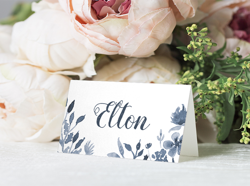 Dusky Blue Placecard - blue watercolour floral wedding stationery suite uk - Hawthorne and Ivory