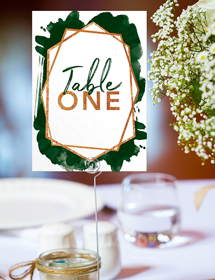 Geometric Emerald Table Number - modern green watercolour copper frame wedding stationery suite uk - Hawthorne and Ivory