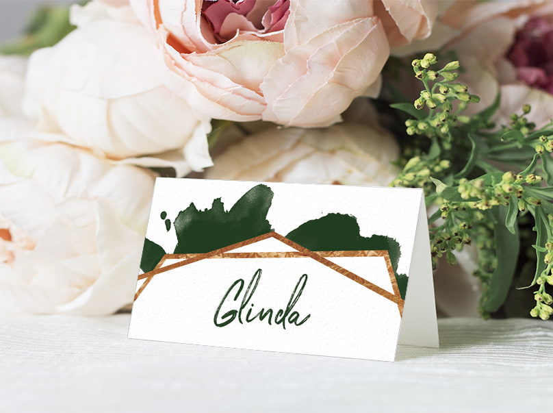 Geometric Emerald Placecard - modern green watercolour copper frame wedding stationery suite uk - Hawthorne and Ivory