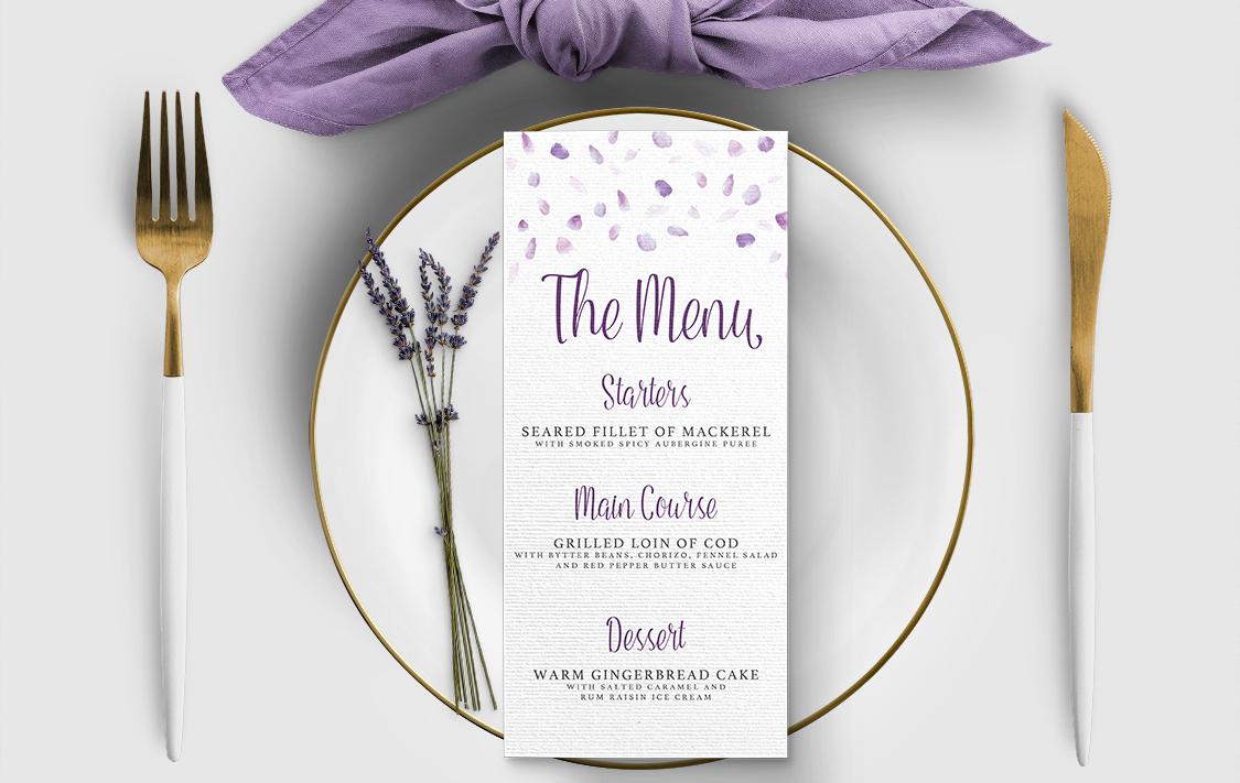 Lavender Petals Menu - lilac pastel purple wedding stationery suite uk - Hawthorne and Ivory