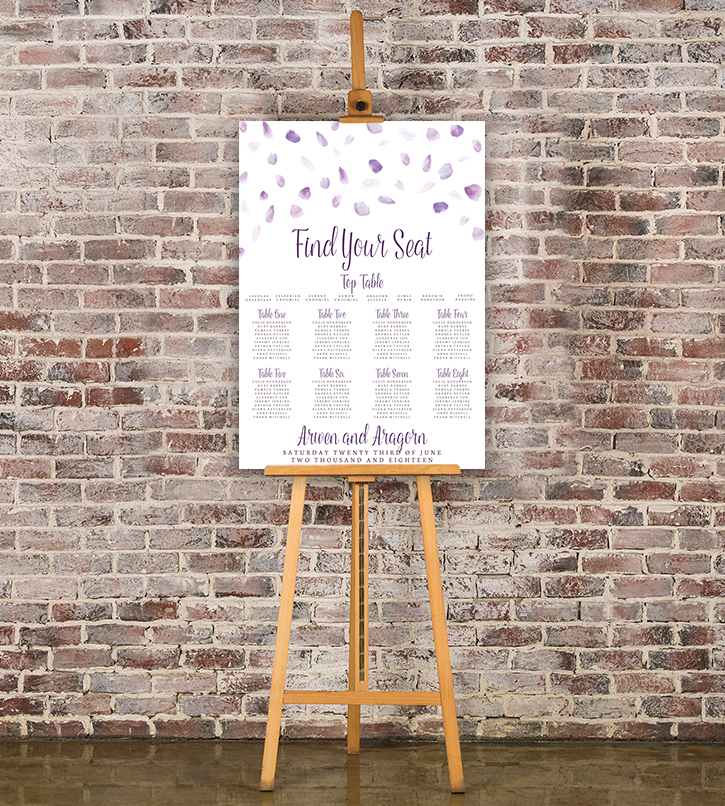 Lavender Petals Table Plan - lilac pastel purple wedding stationery seating chart uk - Hawthorne and Ivory