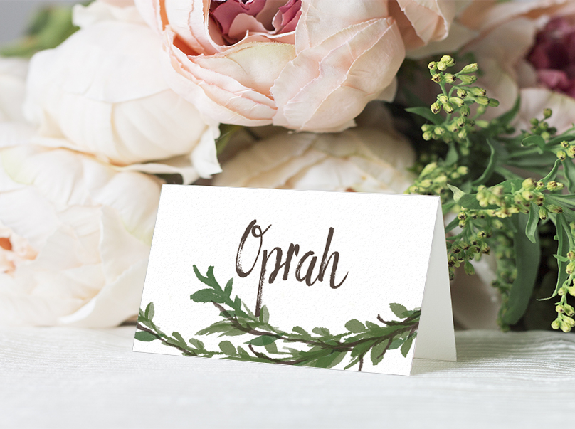 Leafy Botanical Placecard - leaf green painted garden greenery wedding stationery suite uk - Hawthorne and Ivory