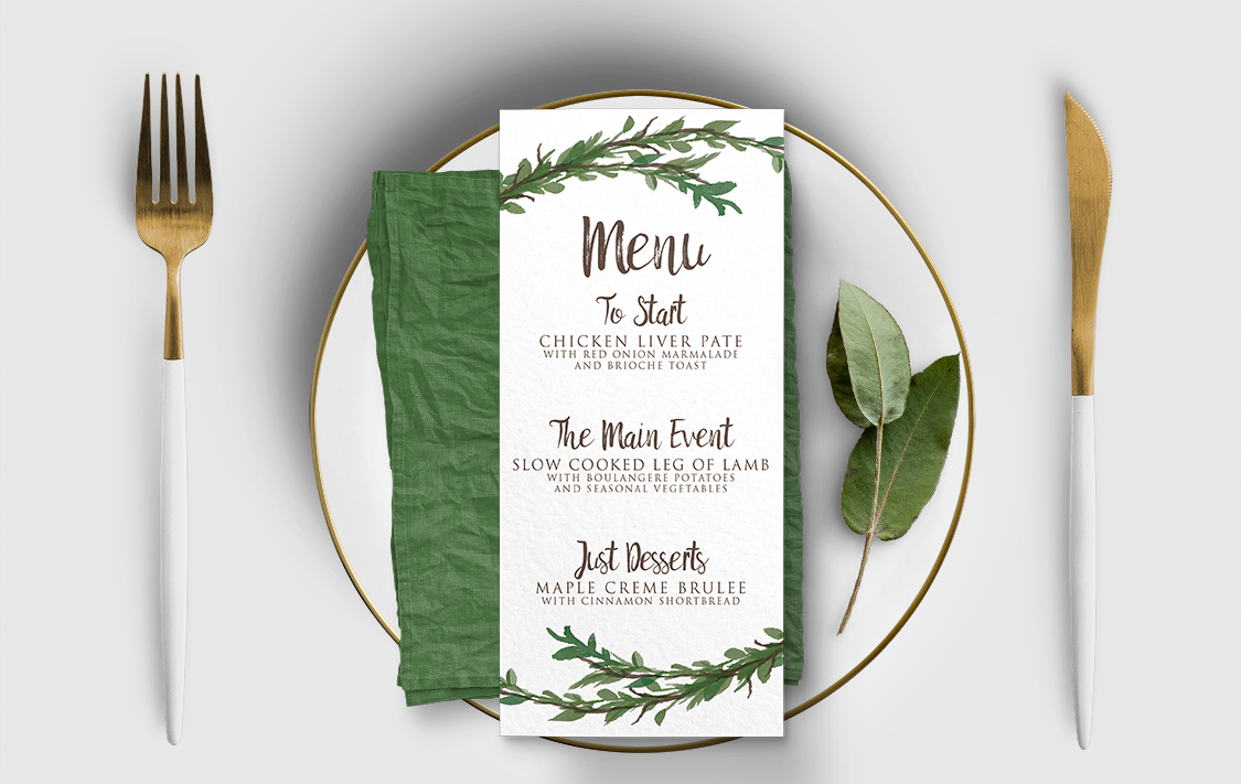 Leafy Botanical Menu - leaf green painted garden greenery wedding stationery suite uk - Hawthorne and Ivory