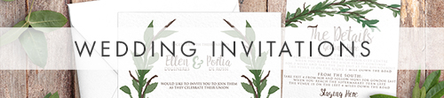 Leafy Botanical Invitation - leaf green painted garden greenery wedding stationery suite uk - Hawthorne and Ivory