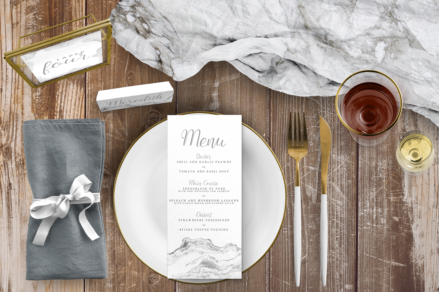 Marble Elegance Tablescape - grey silver watercolour marble texture wedding stationery place setting menu card table number uk - Hawthorne and Ivory