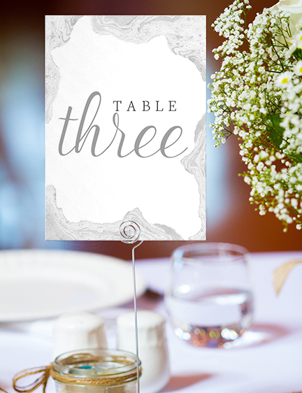 Marble Elegance Table Number - grey silver watercolour marble texture wedding stationery suite uk - Hawthorne and Ivory
