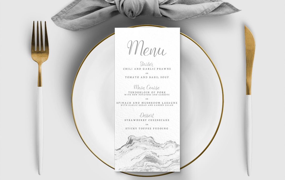 Marble Elegance Menu - grey silver watercolour marble texture wedding stationery suite uk - Hawthorne and Ivory