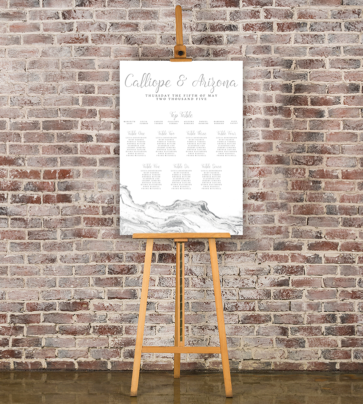 Marble Elegance Table Plan - grey silver watercolour marble texture wedding stationery seating chart uk - Hawthorne and Ivory