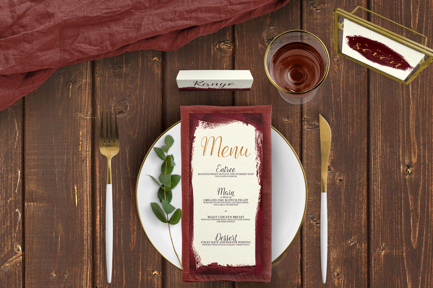 Marsala Wine Tablescape - burgundy red watercolour gold copper wedding stationery place setting menu table number uk - Hawthorne and Ivory