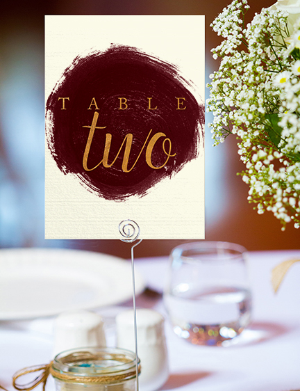 Marsala Wine Table Number - burgundy red watercolour gold copper wedding stationery suite uk - Hawthorne and Ivory