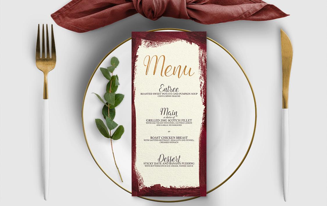 Marsala Wine Menu - burgundy red watercolour gold copper wedding stationery suite uk - Hawthorne and Ivory