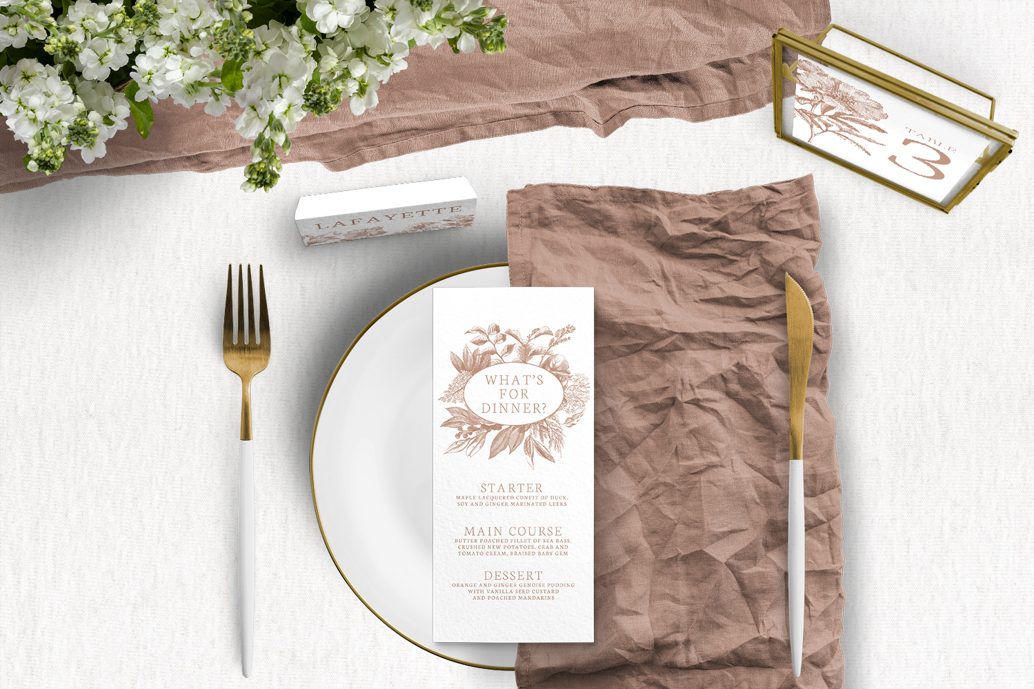 Nude Classic Tablescape - vintage beige neutral floral wedding stationery place setting menu table number uk - Hawthorne and Ivory
